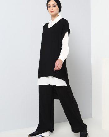 ست لباس گرمکن زنانه تونیک - شلوار - مشکی - شیری     Benin 510851
