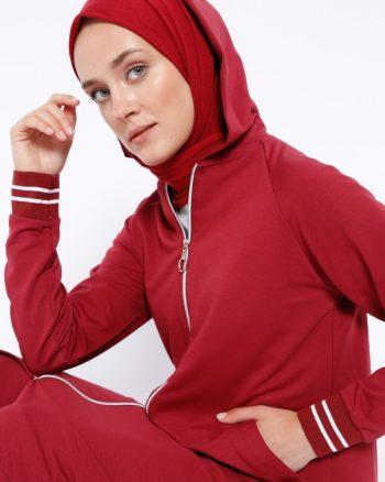ست لباس گرمکن زنانه زرشکی     Peker 444516