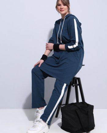 ست لباس گرمکن زنانه اسپرت - تونیک - شلوار - نفتی     Alia 598489