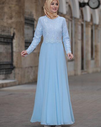 لباس شب و مجلسی سایز بزرگ زنانه لباس شب  - ساده روشن - آبی     Amine Hã¼Ma 695136