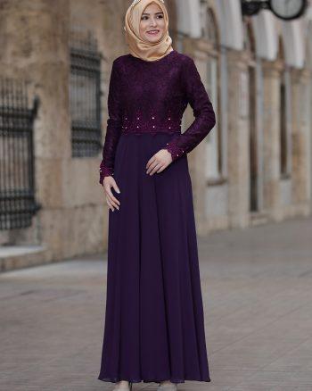 لباس شب و مجلسی سایز بزرگ زنانه لباس شب  - ارغوانی     Amine Hã¼Ma 695139