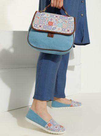 ست کیف و کفش زنانه چهارخانه – ساده روشن – آبی     May Shoes&bags 1058431