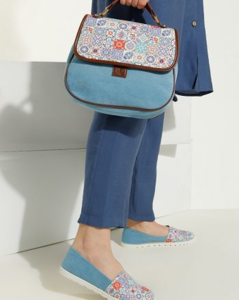ست کیف و کفش زنانه چهارخانه - ساده روشن - آبی     May Shoes&bags 1058431