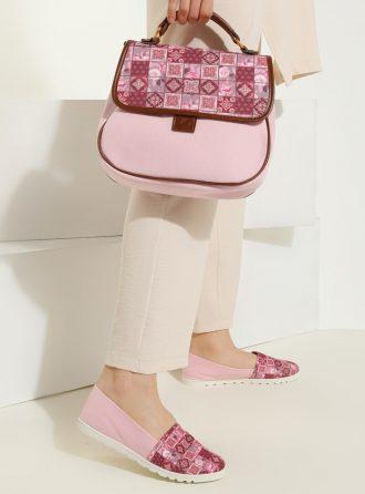 ست کیف و کفش زنانه چهارخانه – صورتی     May Shoes&bags 1058429