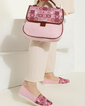 ست کیف و کفش زنانه چهارخانه - صورتی     May Shoes&bags 1058429