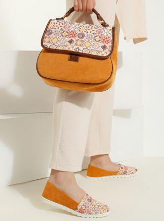 ست کیف و کفش زنانه چهارخانه – خردلی     May Shoes&bags 1058430