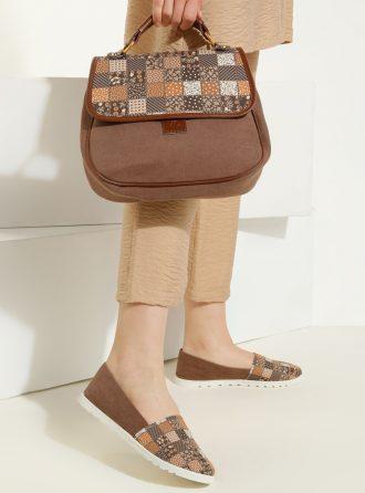 ست کیف و کفش زنانه چهارخانه – قهوه ای سموری     May Shoes&bags 1058428