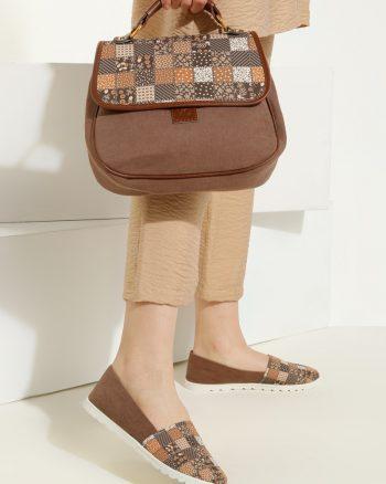 ست کیف و کفش زنانه چهارخانه - قهوه ای سموری     May Shoes&bags 1058428