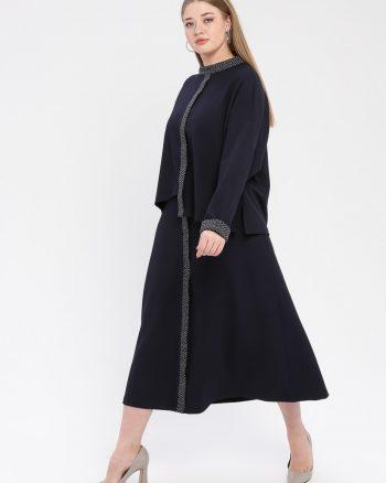 ست سایز بزرگ زنانه بلوز - دامن - سورمه ای     Nesrin Emniyetli 862907