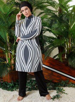 مایو اسلامی سایز بزرگ زنانه طرحدار - مایو - طوسی - سفید     Mayovera 780998