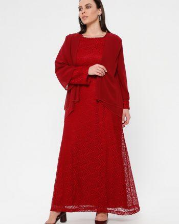 لباس شب و مجلسی سایز بزرگ زنانه توری - لباس شب  - زرشکی     Simetrik Moda 883155