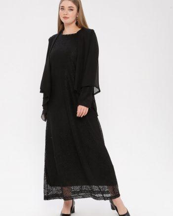 لباس شب و مجلسی سایز بزرگ زنانه توری - لباس شب  - مشکی     Simetrik Moda 883158