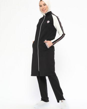 ست لباس گرمکن زنانه مشکی - سفید     Elif Okur 476900