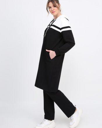 ست لباس گرمکن زنانه مشکی - شیری     Alia 610214