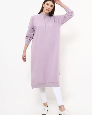 ست لباس گرمکن زنانه زیپ دار - تونیک - بنفش یاسی     Everyday Basic 770458