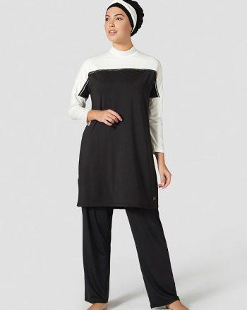 مایو اسلامی سایز بزرگ زنانه گارنیلی - سایز - مایو - مشکی - سفید     Mayovera 415308