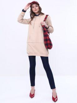 ست لباس گرمکن زنانه اسپرت - تونیک - بژ - ساده     Everyday Basic 581036