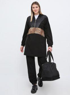 ست لباس گرمکن زنانه پلنگی - مشکی - قهوه ای     Alia 656363