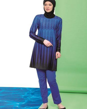 مایو اسلامی سایز بزرگ زنانه کامل - مایو - آبی     HaåŸEma 286683