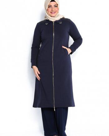 ست لباس گرمکن زنانه مهره دار - کاپ - سورمه ای مهره دار   Sementa 81596