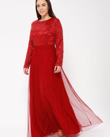 لباس شب و مجلسی سایز بزرگ زنانه پولک دوز - لباس شب  - زرشکی     Mileny 531256