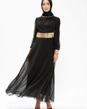 لباس شب و مجلسی سایز بزرگ زنانه پولکی - لباس شب  - مشکی     Meksä°La 497318
