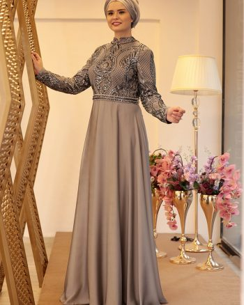 لباس شب و مجلسی سایز بزرگ زنانه لباس شب  - طوسی     Saliha 410222