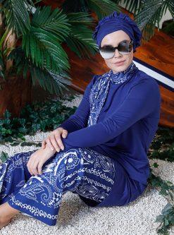 مایو اسلامی سایز بزرگ زنانه طرحدار - مایو - سورمه ای - سفید     Mayovera 780994