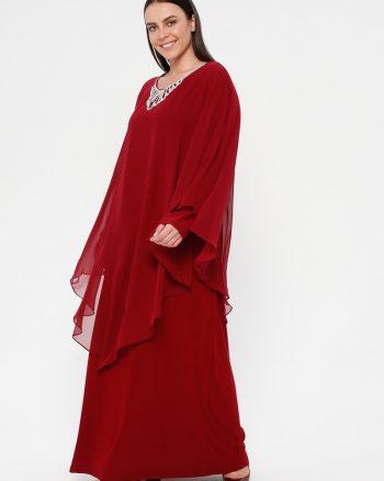 لباس شب و مجلسی سایز بزرگ زنانه لباس شب  - زرشکی     Simetrik Moda 883166