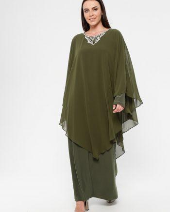 لباس شب و مجلسی سایز بزرگ زنانه لباس شب  - یشمی     Simetrik Moda 883168
