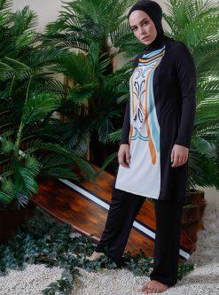 مایو اسلامی سایز بزرگ زنانه اسپرت - مایو - سفید - نارنجی     Mayovera 780997