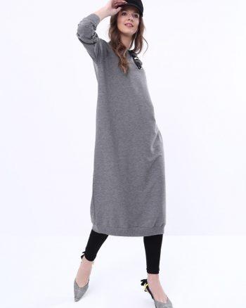 ست لباس گرمکن زنانه اسپرت - تونیک - خاکستری آنتراسیت     Everyday Basic 581100