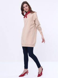 ست لباس گرمکن زنانه اسپرت - تونیک - بژ     Everyday Basic 581074