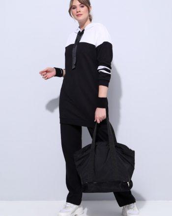 ست لباس گرمکن زنانه اسپرت - تونیک - شلوار - مشکی - شیری     Alia 591184