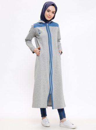ست لباس گرمکن زنانه اسپرت - بلند - کاپ - طوسی     Elif Okur 171818