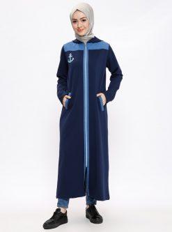 ست لباس گرمکن زنانه اسپرت - بلند - کاپ - سورمه ای     Elif Okur 171819