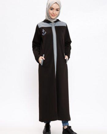 ست لباس گرمکن زنانه اسپرت - بلند - کاپ - مشکی     Elif Okur 387928