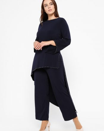 ست سایز بزرگ زنانه تونیک - شلوار - سورمه ای     Efraze 606630
