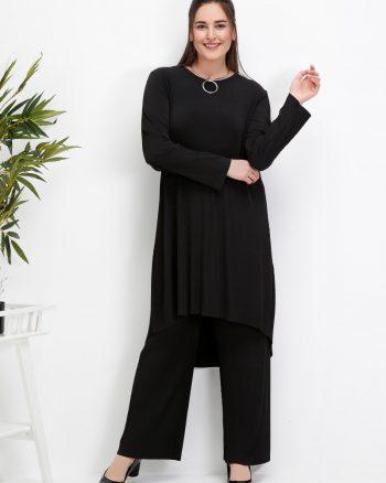 ست سایز بزرگ زنانه تونیک - شلوار - مشکی     Alia 509745