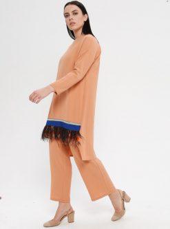 ست سایز بزرگ زنانه تونیک - شلوار - نارنجی کرم سالمون     Efraze 1075424
