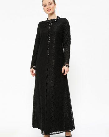 لباس شب و مجلسی سایز بزرگ زنانه توری - لباس شب  - مشکی     Sevdem Abiye 401430