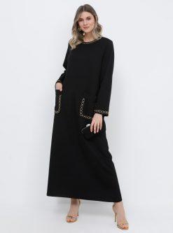 لباس شب و مجلسی سایز بزرگ زنانه زنجیردار - پیراهن - مشکی زنجیردار   Alia 608818
