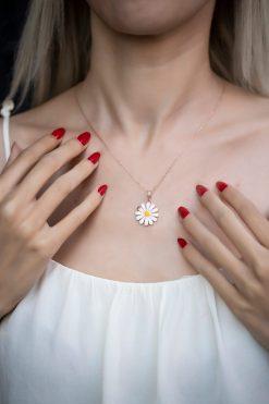 گردنبند نقره ای روکش رز گل آفتابگردان زنانه  İzla Design 1565784699