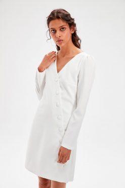 پیراهن کت سفید  TRENDYOLMİLLA 156542748