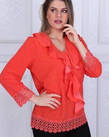 پیراهن طرح دار توری نارنجی زنانه  D'SEN STORE 156557777