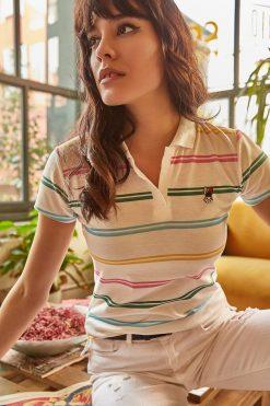 تیشرت یقه سه دکمه نواری رنگارنگ زنانه  Ola 156689799