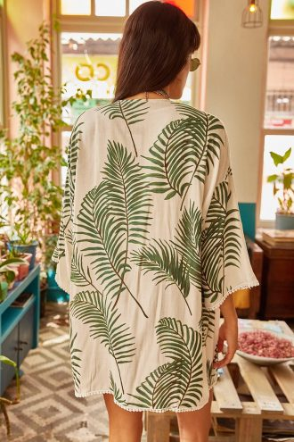 کیمونو  طرح دار گیپور نخل سفید زنانه ویسکوز Ola 1565184898