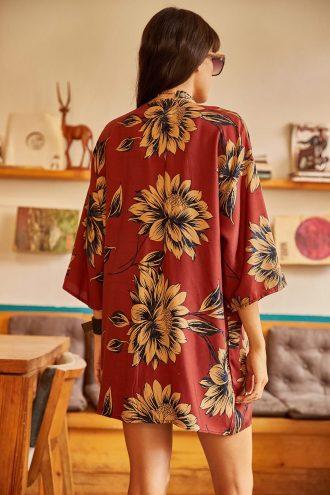 کیمونو  گل دار بزرگ دارچینی زنانه ویسکوز Ola 1565596355