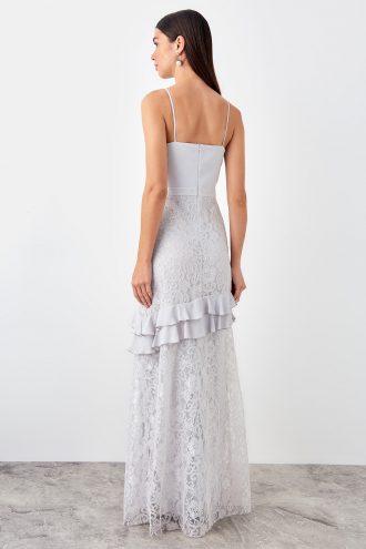 پیراهن لباس شب  توری طرح دار والان طوسی TRENDYOLMİLLA 1565333987
