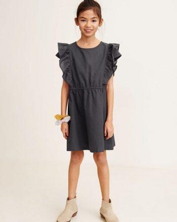 پیراهن چین دار سوراخ بچه گانه دخترانه خاکستری آنتراسیت  MANGO Kids 156499194